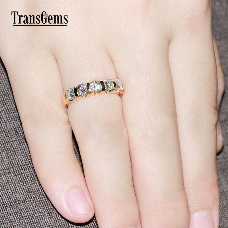 TransGems Classic Solid 14K 585 Yellow Gold 1.25CTW 4MM F Color - Fine Jewelry - Photo 6
