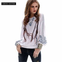 [CHENS SISTER] 2018 Women's Spring New Retro Large size Long sleeved Fashion Shirt V neck Cotton White Embroidered Blouse