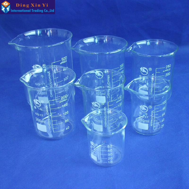 SHUNIU Glass Beaker 7 Pcs Set 50, 100, 150,200. 250,300,500ml Low form with graduation Glass Chinese famous brand shuniu 500ml tall beaker lab beaker 500ml beaker in tall form with graduation and spout boro 3 3 glass