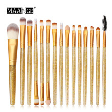 Glitter Makeup Brush Set tools Make-up Toiletry Kit Shiny Brushes Set 15Pcs K0222