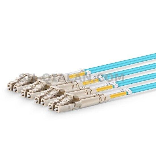 30 m MTP MPO câble de raccordement OM3 femelle à 6 LC UPC Duplex 12 Fibers cordon de raccordement 12 noyaux cavalier OM3 câble de rupture, Type A, Type B - 3