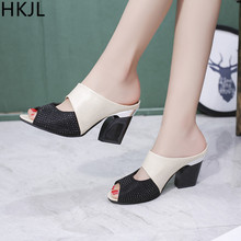 HKJL 2019 summer sandals for women Ladies Women Sandals Mixed Colors Square High Heels Slipper Fish Mouth Shoes A047 цена 2017