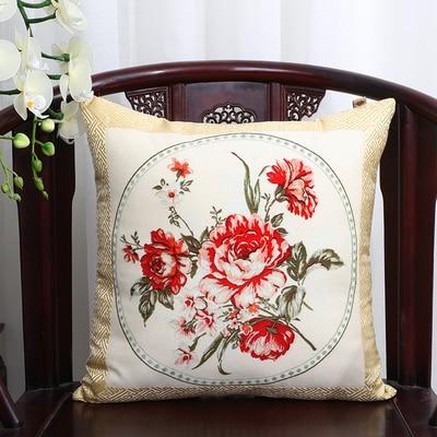 Шикарный элегантный китайский шёлковая наволочка на подушку подушка с цветами крышка Счастливого Рождества диван стул Подушка под поясницу декоративные наволочки - Цвет: flower