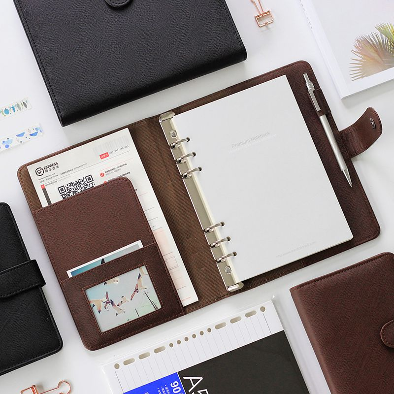 Deli Leather Notebook High Quality Portable Notebook Loose Leaf Detachable Buckle Ring Thickening Business Meeting Diary Book