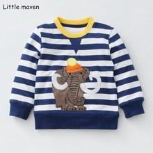 Little maven/ г. Осенняя брендовая одежда для маленьких мальчиков детские толстовки и свитшоты хлопковые полосатые толстовки с изображением слона флисовые F0004