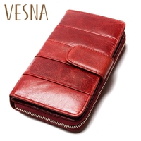 High Quality 2018 New Style Layer Of Import Oil Wax Cowhide Medium Paragraph Buckle Leather Wallet Women's Purse