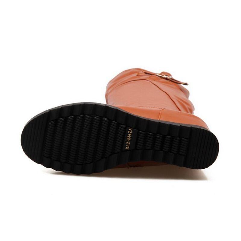 Haute 43 Au Coins Chaussures 34 Genou Footwears Des Taille noir Bottes Femmes Talon Chaud Razamaza Botas L'intérieur Beige jaune Sur À Boucle Métal Long En wmyOPvNn08