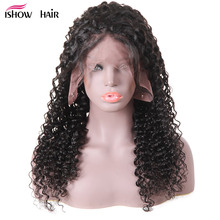 13x4 Deep Wave Lace Frontal Wigs Pre Plucked With Baby Hair Full End Brazilian Lace Front Human Hair Curly Wigs Ishow Remy Wigs