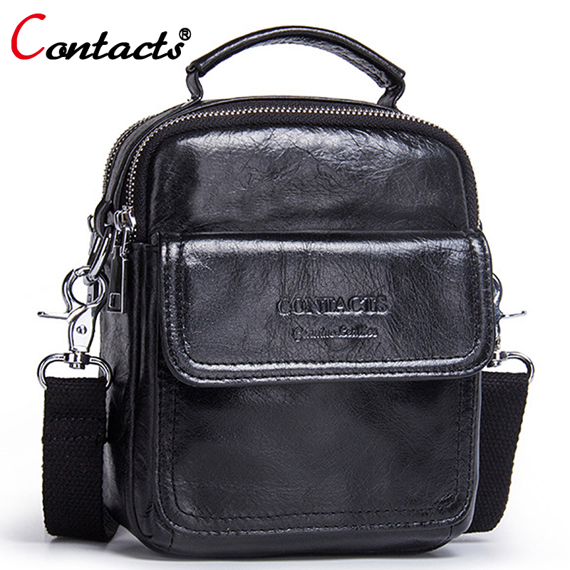 Contact's Fashion Handbag Male Business Genuine Leather Men Messenger Bags Small Crossbody Shoulder Bag Casual Travel Man Bag