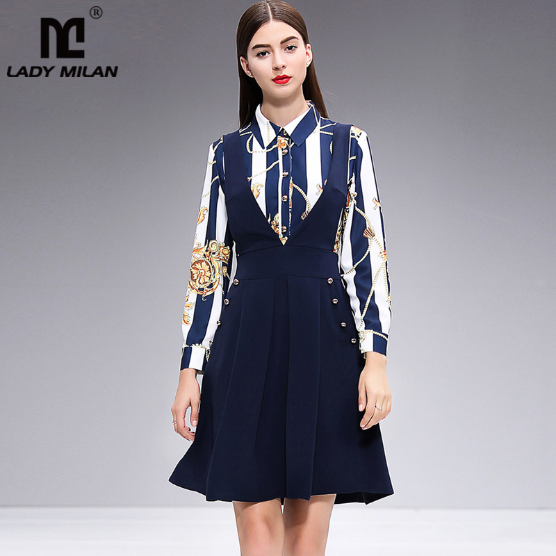 2019 Women s Runway Dresses Turn Down Collar Printed False Two Piece Fashion Casual Dresses