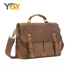 Y-FLY 2016 Hot Sale Canvas Bag High Quality Canvas and Leather Handbag Business Men Shoulder Bag Vintage Crossbody Bag HC280