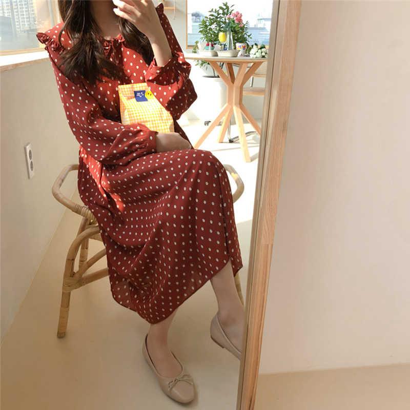 Шикарное женское длинное платье в горошек с длинным рукавом, кружевное ТРАПЕЦИЕВИДНОЕ женское шифоновое платье, Элегантное летнее платье с круглым вырезом и пуговицами спереди, vestidos femm