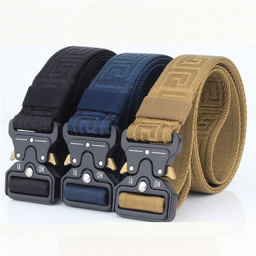 Military Equipment Army Belt Men Combat Tactical Designer Belts For Jeans Pants Solid Casual Nylon Strap Canvas Waist Belt