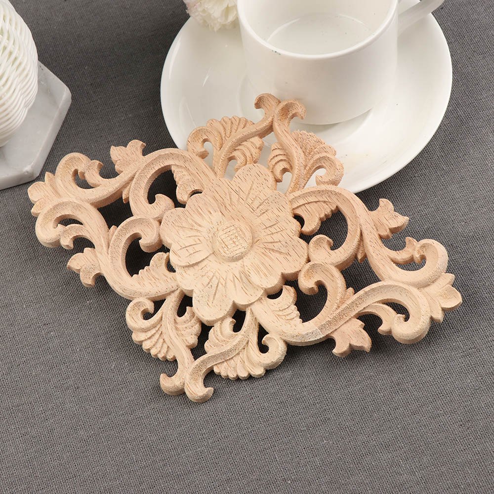 1pc Unique Natural Floral Wood Carved Wooden Figurines
