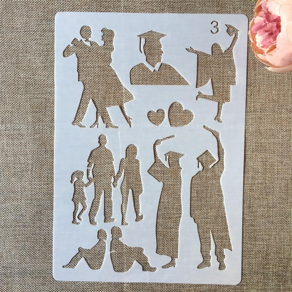 1Pcs 29*21cm Graduate Dance Lover School DIY Layering Stencils Painting Scrapbook Coloring Embossing Album Decorative Template