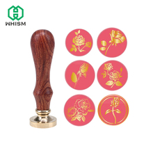 Retro Wood Classic Sealing Wax Seal Stamp Post Decorative Retro Rose Flower Stamp with Wooden Handle Wedding Invitation Stamps 1x wax seal stamp retro wood classic sealing wax seal stamp decorative rose tree of life wedding invitation antique stamp