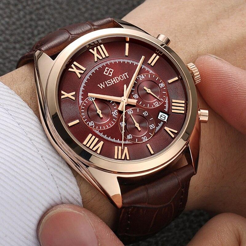 Hombres de negocios impermeable reloj de cuarzo Top marca WISHDOIT hombres del cuero relojes deportivos moda Casual militar oro rosa reloj