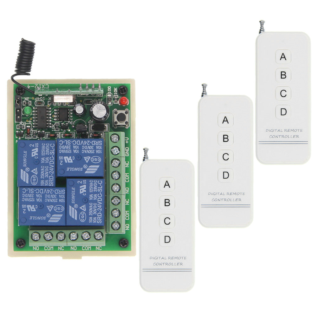 2018 New 500m DC 12V 24V RF 4 CH High Power Wireless Remote Control Switch System Receiver Transmitter,315 / 433.92 MHz 12v 8ch power switch rf wireless remote control system transmitter