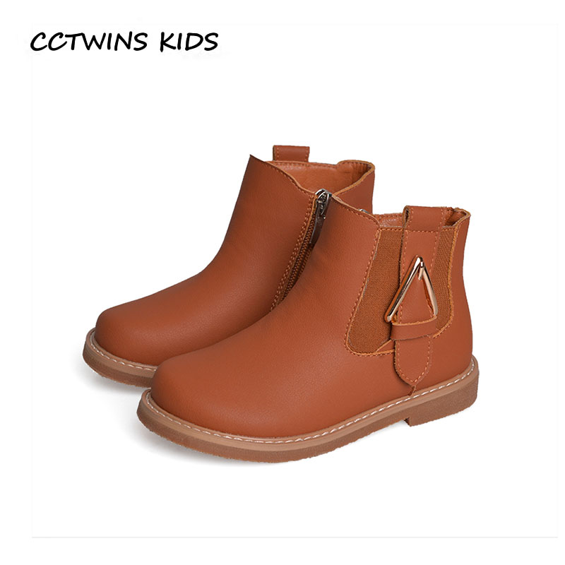 CCTWINS KIDS 2018 Winter Baby Boy Brand Black Ankle Boot Girl Fashion Warm Shoe Children Pu Leather Boot Toddler CF1563