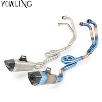 Motorcycle R3 Exhaust System Slip On Muffler Pipe and Mid Connect Pipe Scooter Exhaust Muffler Escape for YZF R3 YZFR3 14 15 16