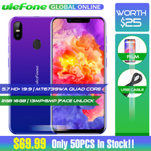 Ulefone S10 Pro Mobile Phone 5.7 HD+ 19:9 MT6739WA Quad Core 2GB RAM 16GB ROM 13MP+5MP Face Unlock Android 8.1 4G Smartphone(China)