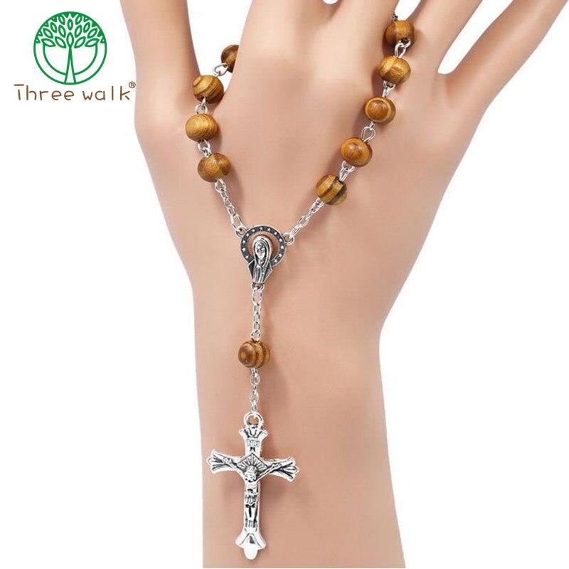 Dynamisch 10 Stücke Runde Holz Perlen Katholischen Rosenkranz Strang Armband Unisex Heiraten Zentrum Papst Rosenkranz Gebet Armband Schmuck