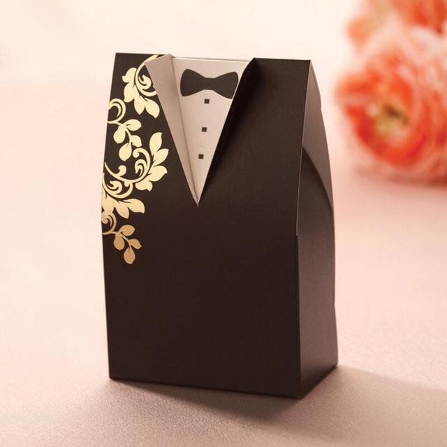 20pcs Pack Personalized Bride And Groom Chocolate Candy Box Creative Wedding Supplies Gift Packaging