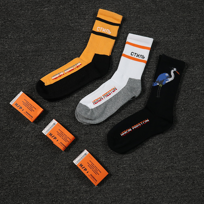 Heron preston men women   socks   kanye west Cotton Casual happy hip hop high street funny harajuku mens gift skateboard Crew