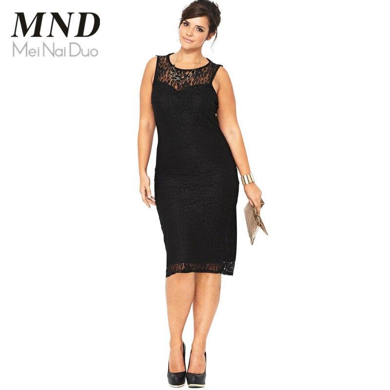 L-4XL Summer Elegant Lace Slim Dress Plus Size Black Pencil Dress Sexy Hollow Sleeveless Bodycon Sheath Women Party Dress (1)