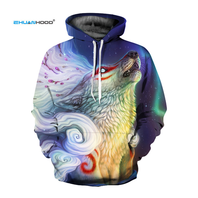 d5872cb4b89c EHUANHOOD Wolf 3d Hoodie Graphic Pullover Hoodies Sweatshirt with A Hood  Animal Print Sports Suits for Men Tracksuit for Women