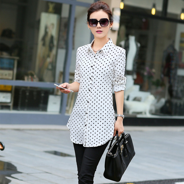 New Fashion Print Blouses Women Long Style Shirts 2019 Cotton Ladies Tops Long Sleeve Blusas Femininas Plus Size Women Clothing 1