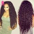 7А Glueless Полный Шнурок Человеческих Волос Парики Kinky Вьющиеся 100% Необработанные бразильские Волосы Девственницы Кружева Передние U Часть Парики Для Чернокожих Женщин