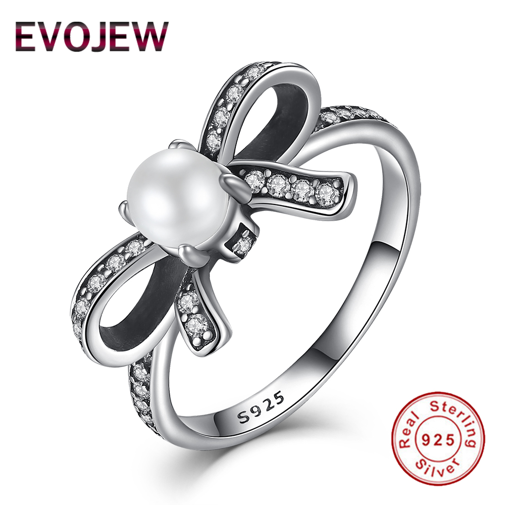 925 Sterling Silver Delicate Sentiments Bow Knot & Pearl Ring For Women  Original Fashion Wedding Jewelry