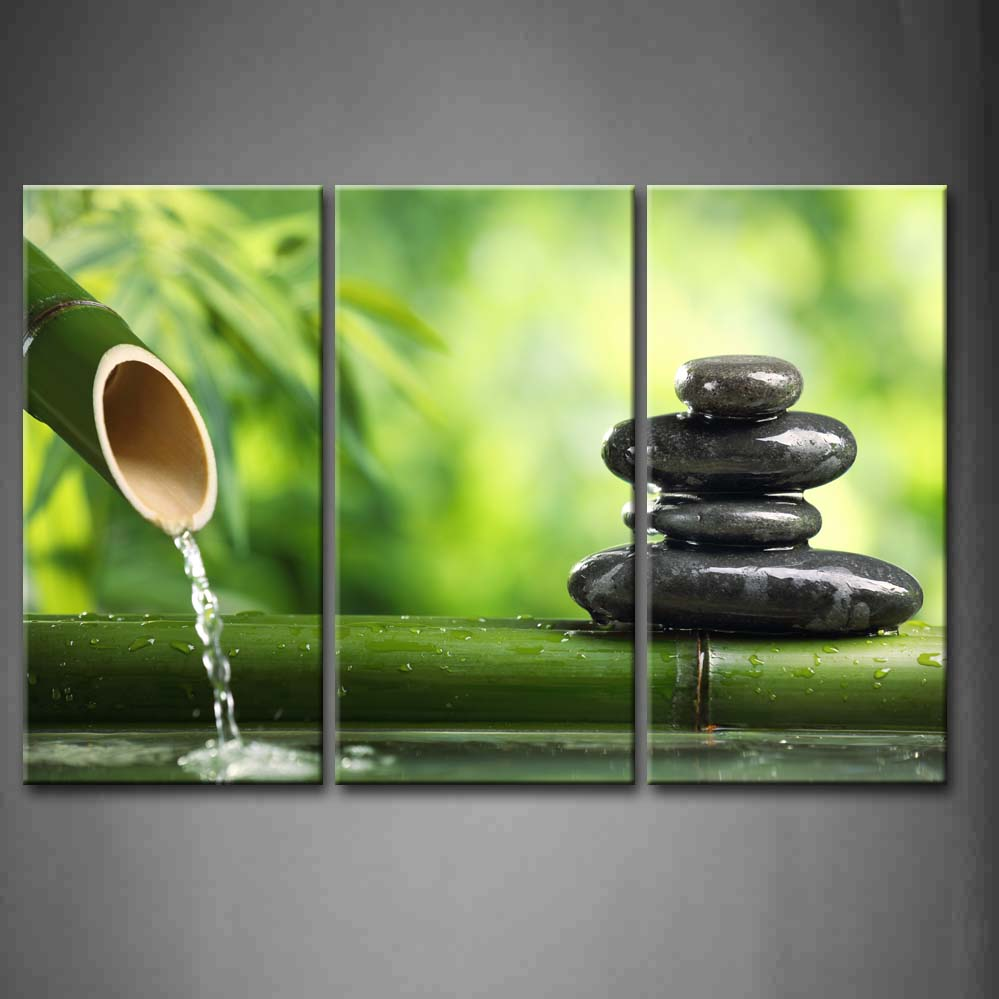 Framed Wall Art Pictures Spa Bamboo Fountain Zen Stone Canvas Print Botanical Posters With Wooden Frames For Room DecorFramed Wall Art Pictures Spa Bamboo Fountain Zen Stone Canvas Print Botanical Posters With Wooden Frames For Room Decor