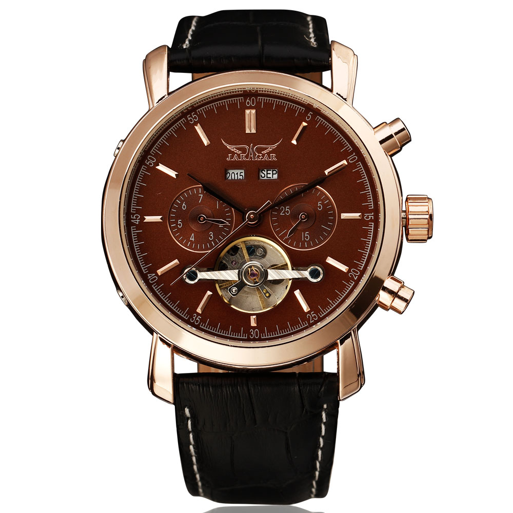 JARAGAR Skeleton Tourbillon Mechanical Watch Men Automatic Classic Rose Gold Leather Mechanical Wrist Watches Reloj Hombre meike s af b auto focus macro extension tube ring set adapter for sony alpha a7 ii a580 a550 a350 a900 a77 a550 a300
