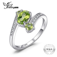 Hot Sale 2 48ct Natural Green Peridot Ring Real Pure Solid 925 Sterling Solid Silver Oval