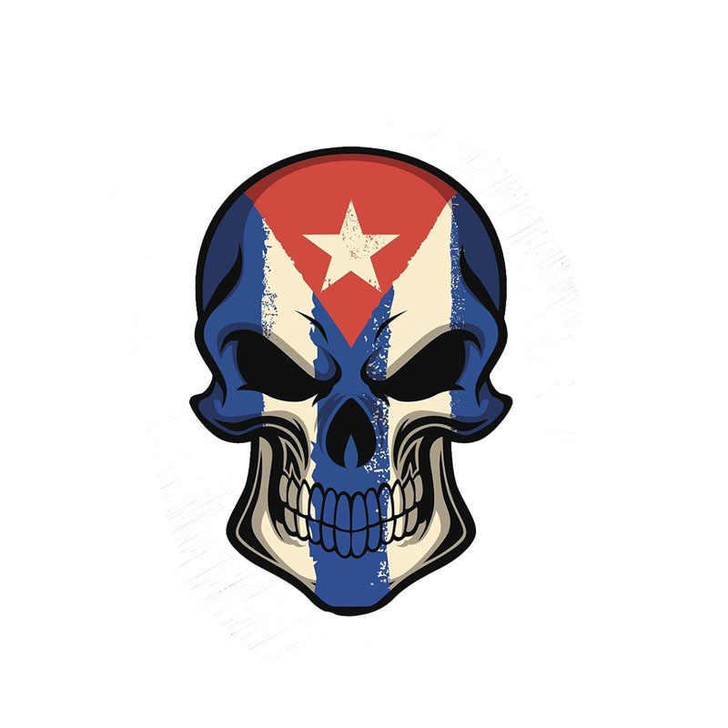 YJZT 10,4 см * 15,2 см личность кубинский флаг наклейка с черепом Автомобильная наклейка из ПВХ аксессуары 6-0004