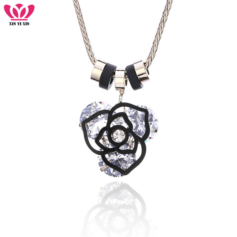 High Quality Luxury Cubic Zirconia Flower Necklaces & Pendants Coffee Gold Silver Choker N