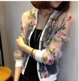 Ladies Bomber Zip-up   Jacket   Summer Organza Floral Printed Long Sleeve Perspective Sunscreen Sexy Outwear Women Casual   Basic   Coat