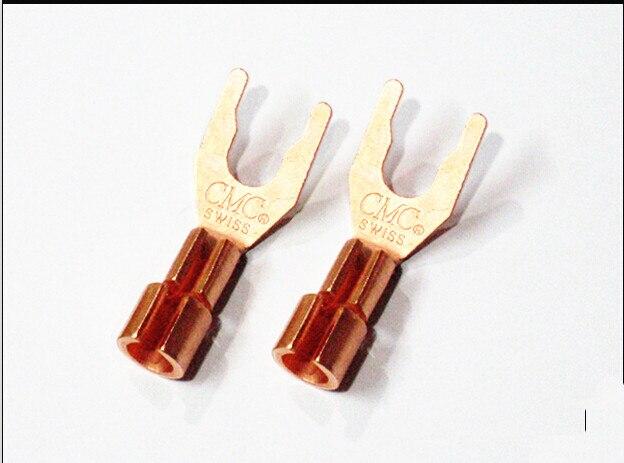 8pcs free shipping CMC 6005 Red Copper Y Spade Speaker Plug U-Plug Bananan Plug Pure Copper цена и фото