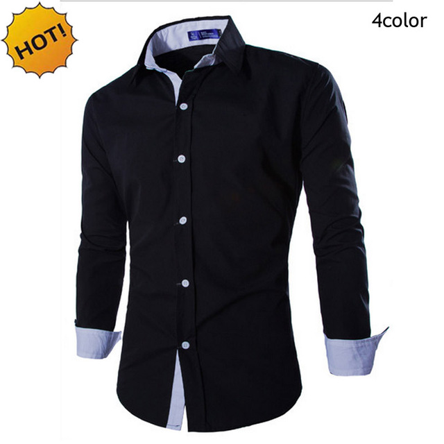 Fashion2016 Spring Autumn Men's Long Sleeve Dress Shirt Joker Double collar Men Leisure Matching Shirts Men Shirt slim fit M-XXL