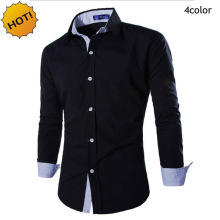 Fashion2017 Spring Autumn Men's Long Sleeve Dress Shirt Joker Double collar Men Leisure Matching Shirts Men Shirt slim fit M-XXL