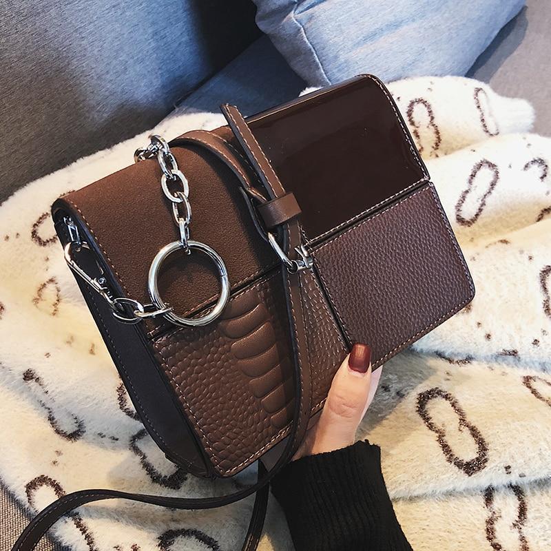 European Retro Fashion Square Bag 2019 New Quality PU Leather Women's Designer Handbag Splicing Chain Shoulder Messenger Bsgs