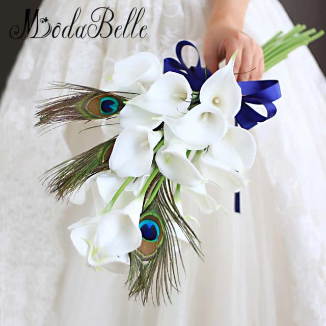 Modabelle Custom White Calla Peacock Wedding Bouquet Artificial