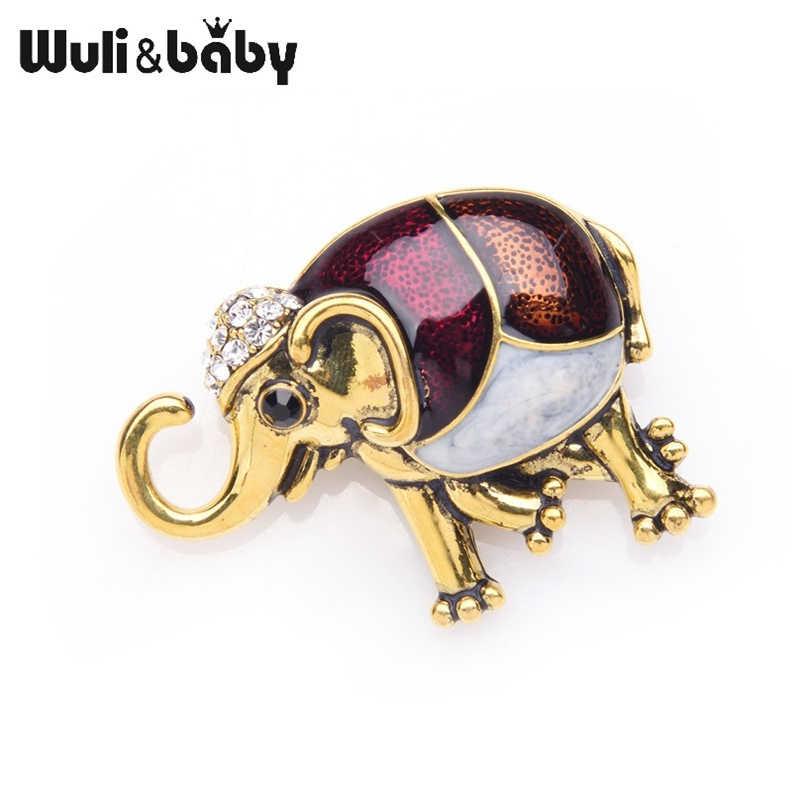 Wuli Bayi Emas Perak Enamel Gajah Bros untuk Wanita dan Pria Paduan Hewan Bros Pin Natal Hadiah