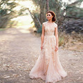 2017 Romantic fashionable A Line Pink Wedding Dress Court Train Empire Birdsmaid Appliques robe de mariee princesse traine