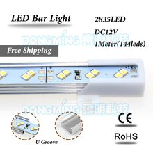 2835 LED Luces Газа DC 12 В двойной ряд свет бар 1 м 144 светодиоды кухонный шкаф с алюминиевой U /V профиль холодной/теплый белый