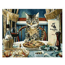 Painting By Number 40x50cm,Paint Kits,Abstract Dinner Cat,Paint Numbers Set