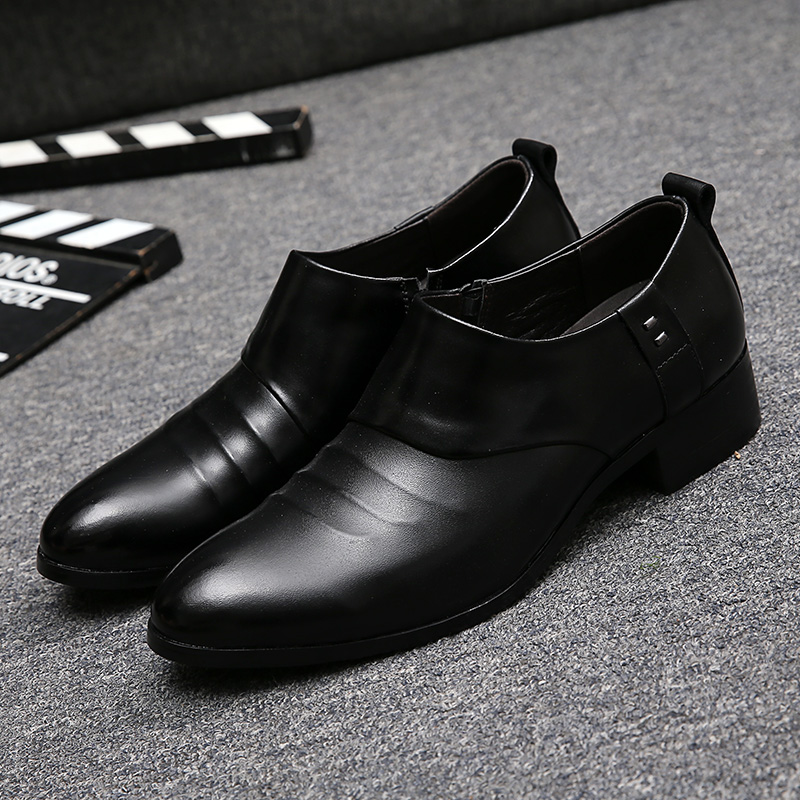 ФОТО Wrinkle Pointed Toe Casual Shoes British Style Men's Business Leather Shoes Simple Gentle Men Wedding Party Shoes