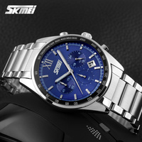 Top Luxury Brand SKMEI Chronograph 6 Function Hand Military Men Watch Full Steel Quartz Watches Brand